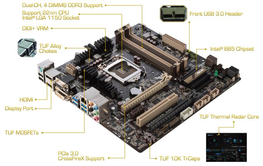 Kết quả hình ảnh cho Main ASUS B85 Vanguard