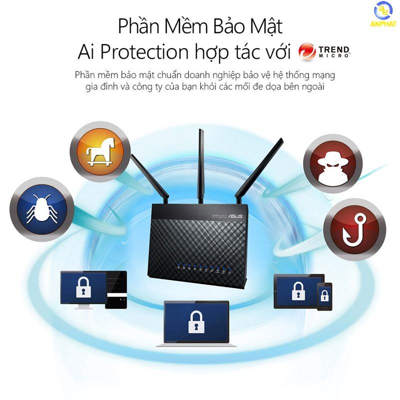 Router Wifi ASUS RT-AC68U (Chuẩn Doanh Nghiệp) Chuẩn AC1900