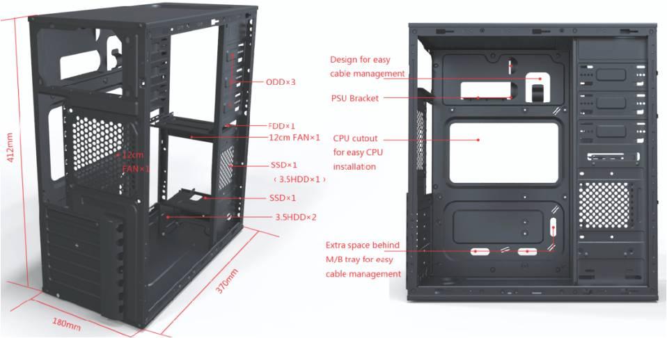 Vỏ case Orient 3003B ATX