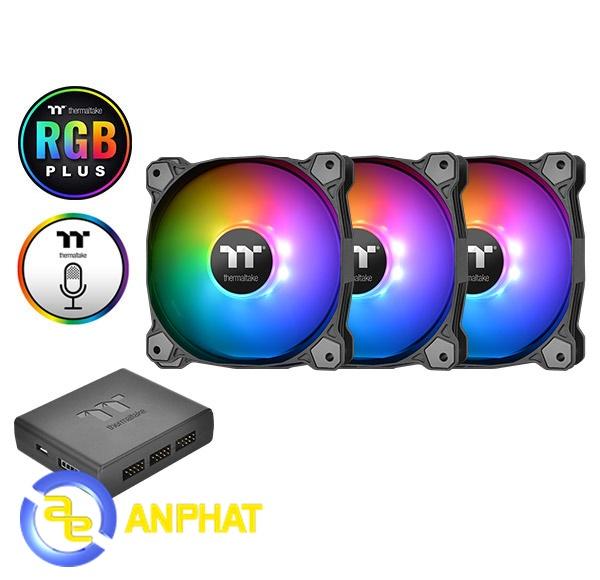 Kết quả hình ảnh cho Quạt tản nhiệt Thermaltake Pure Plus 12 RGB (3-Fan Pack) CL-F063-PL12SW-A