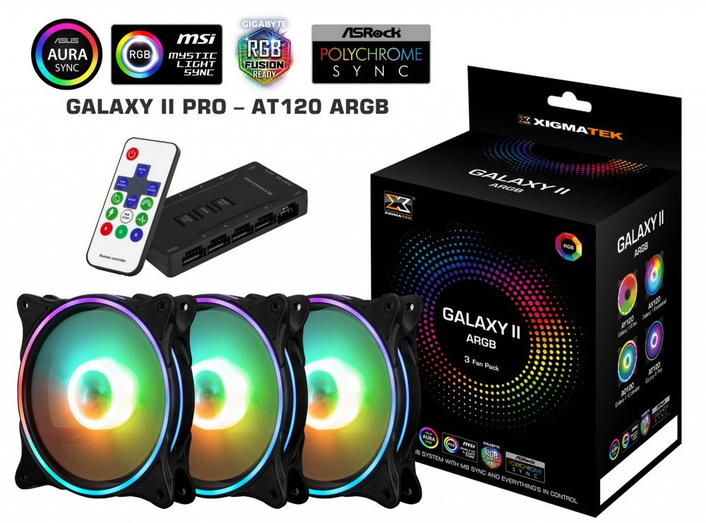 Fan Case Xigmatek GALAXY II PRO - AT120 ARGB (EN42128) 3 Fan